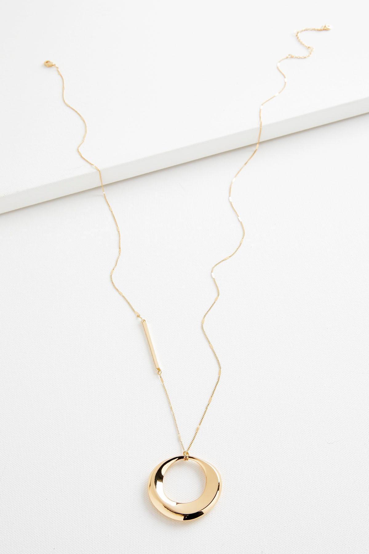 Cutout Oval Pendant Necklace