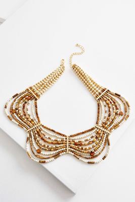 scalloped semi-precious bib necklace