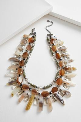 Mixed semi-precious layered necklace
