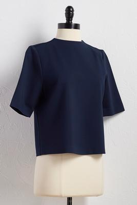 button back ponte skimmer top
