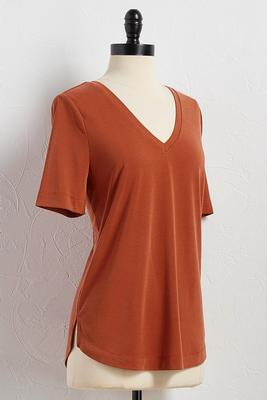 silk wash v-neck tee