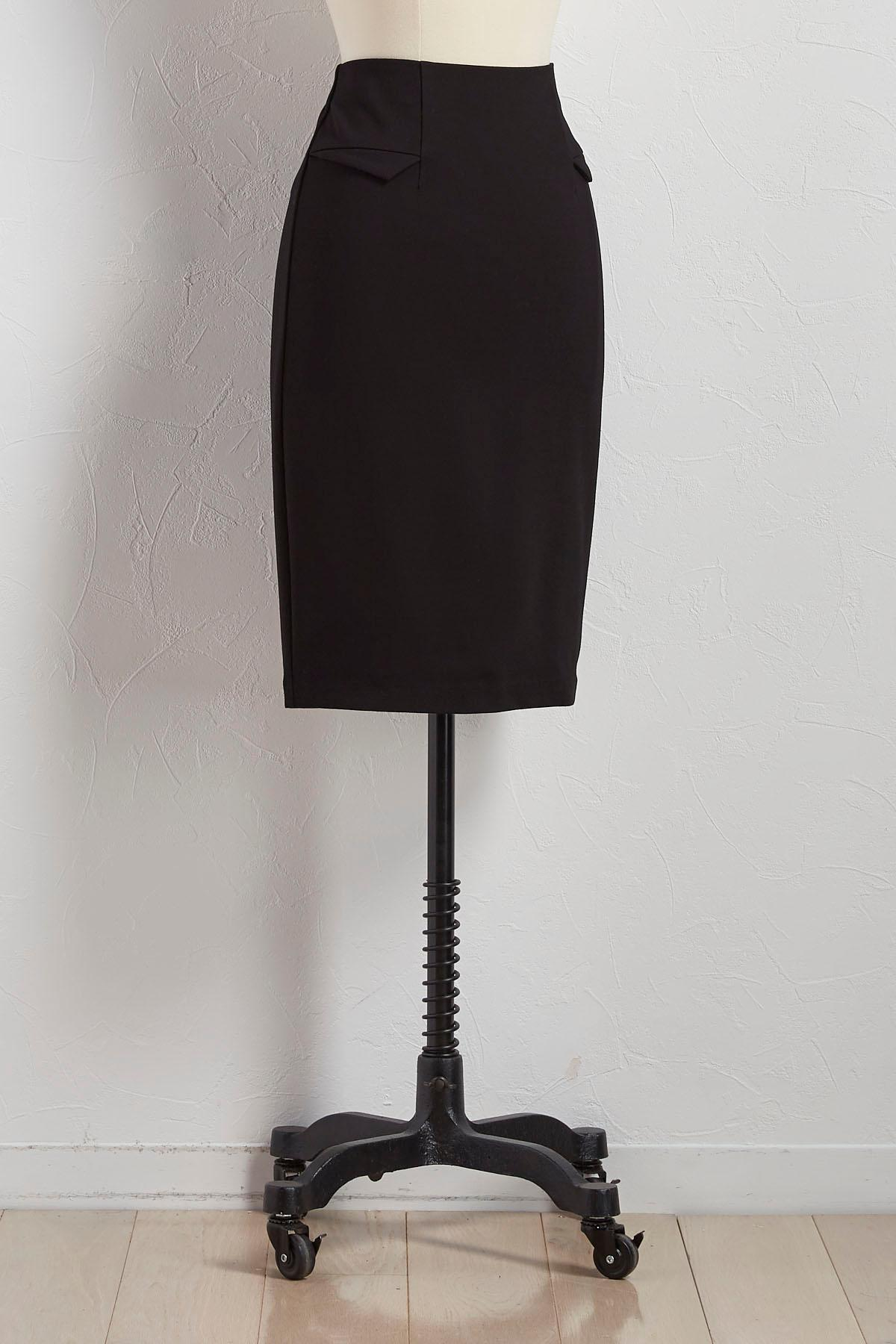 Flap Faux Pocket Pencil Skirt
