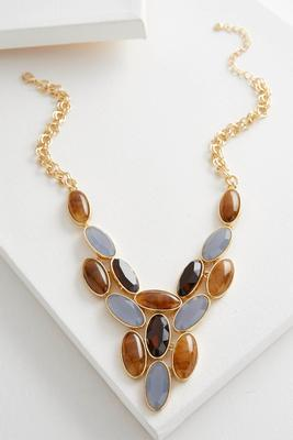 oval stone cluster bib necklace