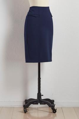 flap faux pocket pencil skirt