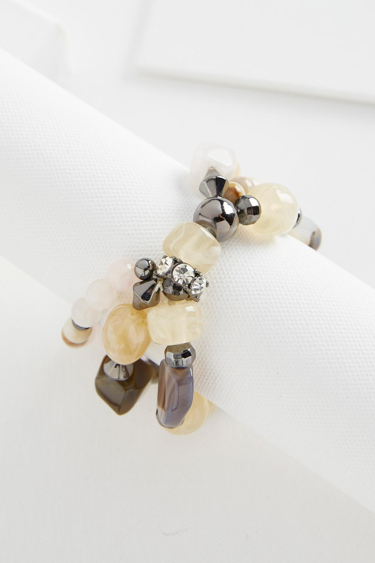 Layered Semi- Precious Stretch Bracelet