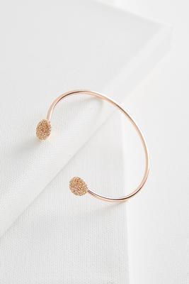 rhinestone ball open cuff bracelet