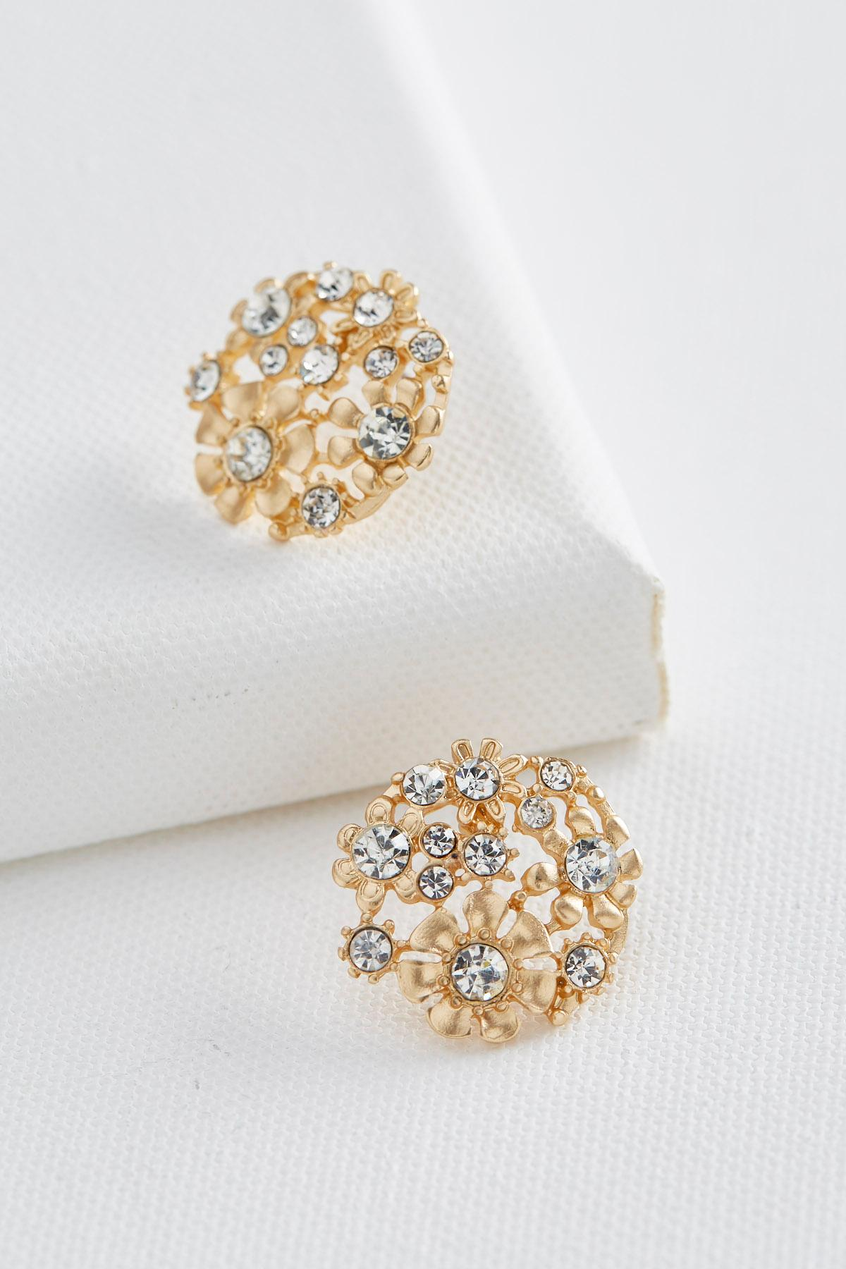 Flower Cluster Statement Stud Earrings