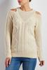 Bare Shoulder Mixed Cable Knit Sweater