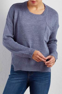 ribbed trim high-low sweater