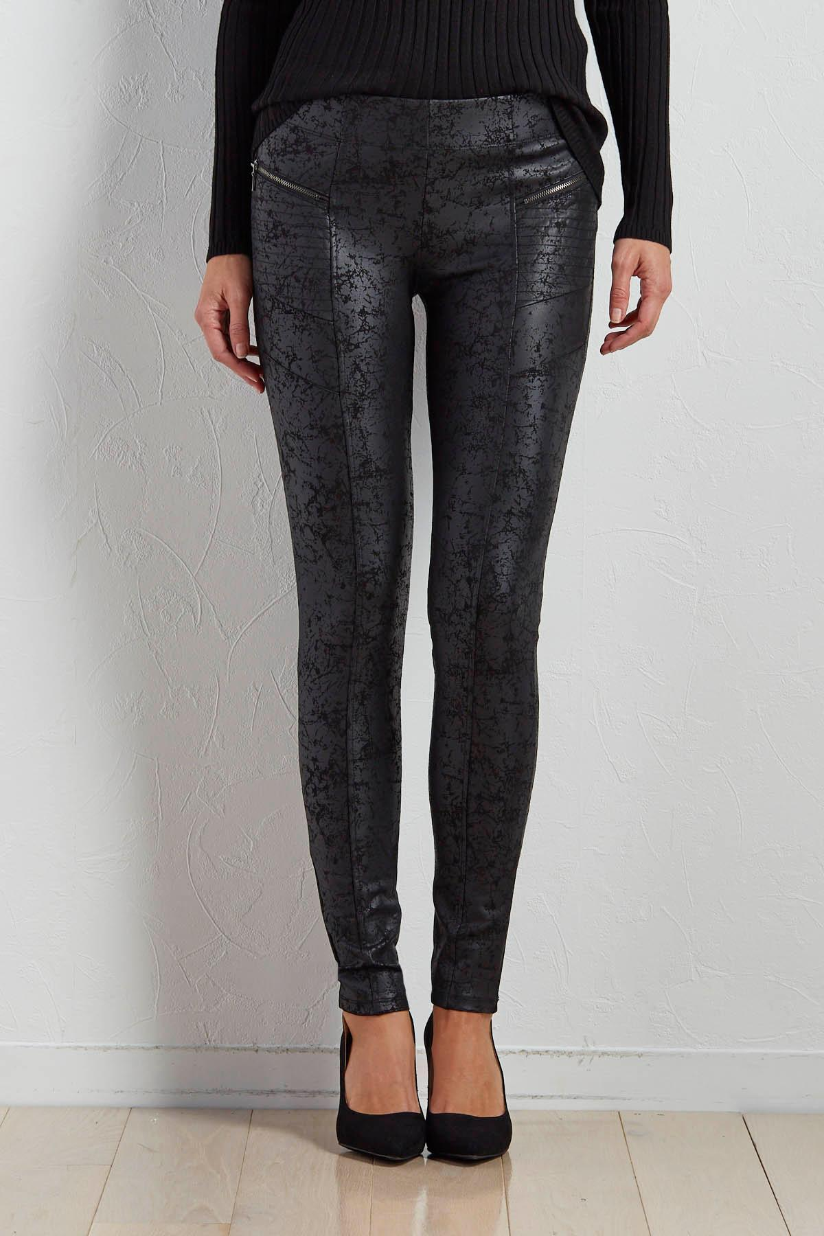 Crackle Moto Ponte Leggings