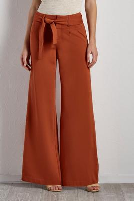 belted wide leg ponte pants