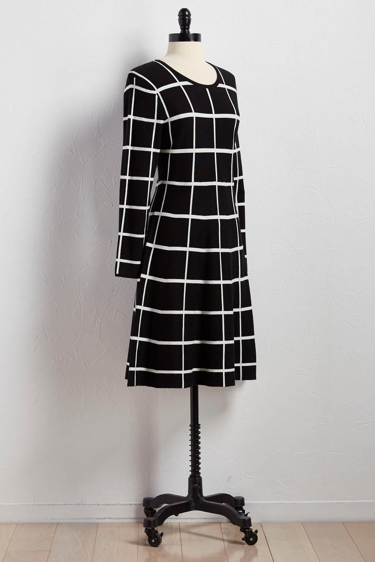 Windowpane Fit And Flare Sweater Dress