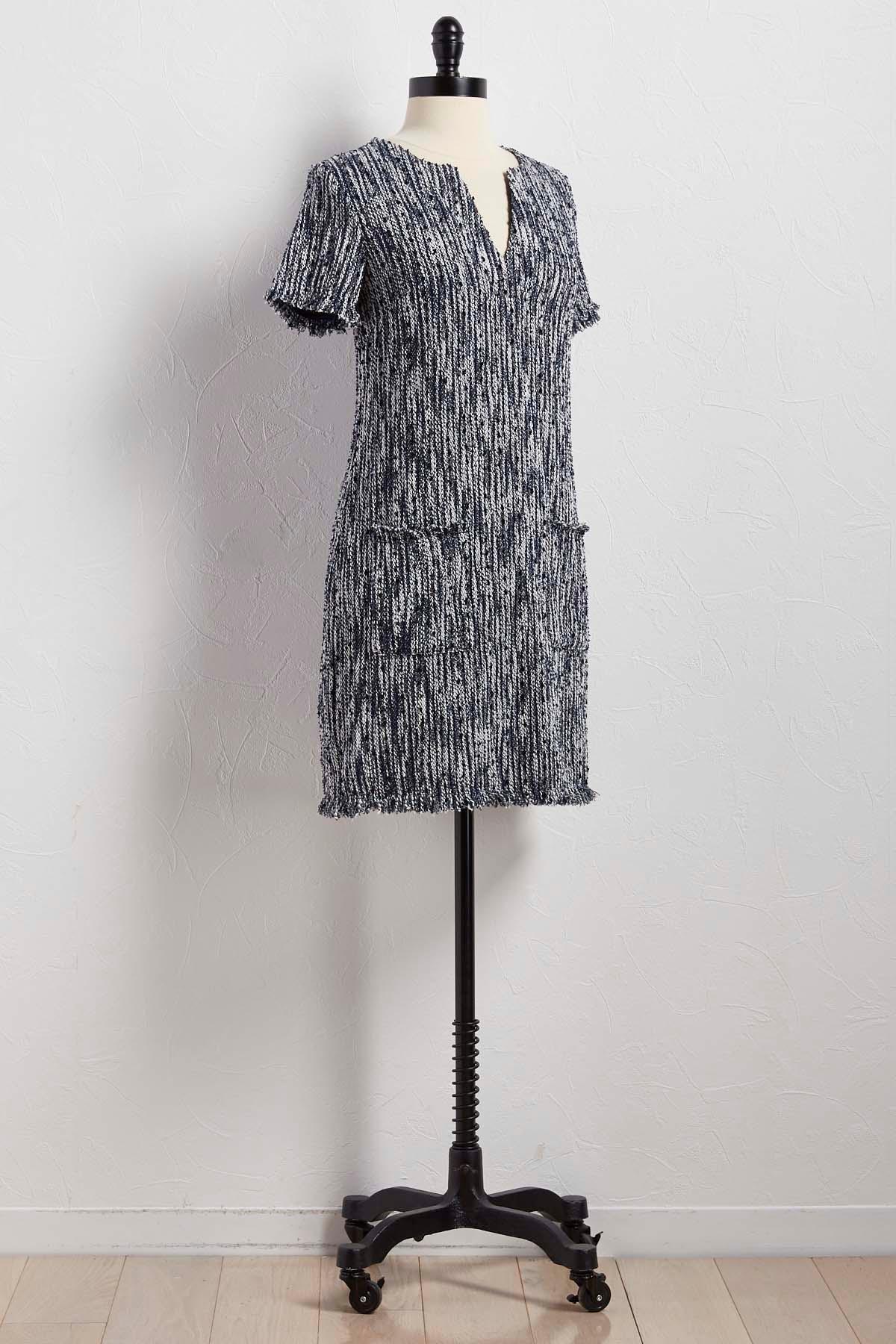 Boucle Tweed Shift Dress