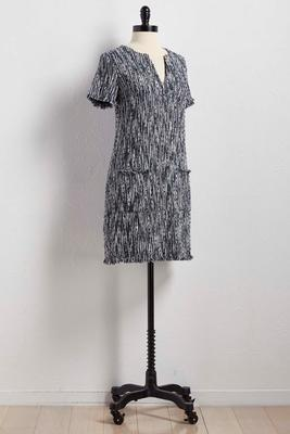 boucle tweed shift dress