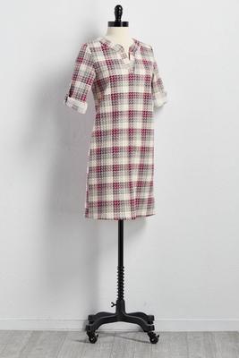houndstooth plaid jacquard shift dress