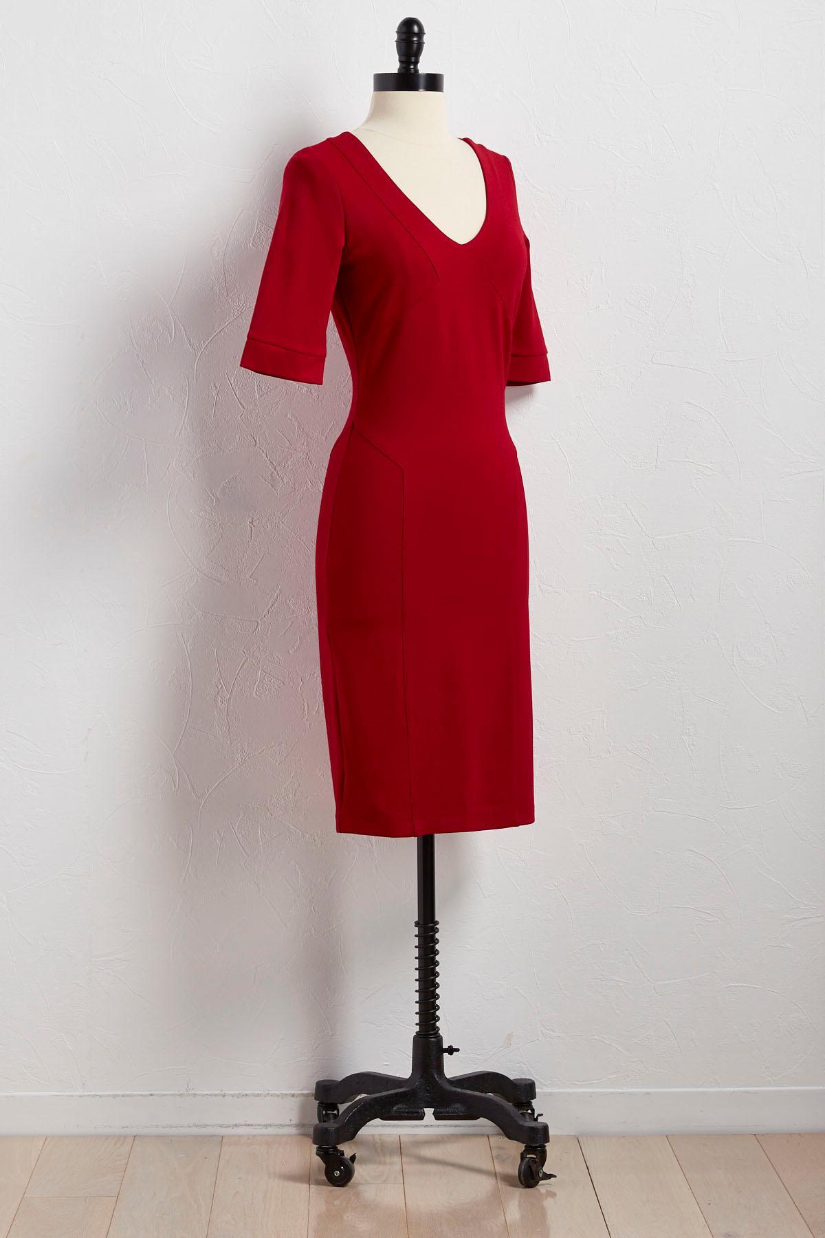 Seamed V- Neck Knit Sheath Dress