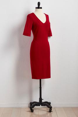 seamed v-neck knit sheath dress