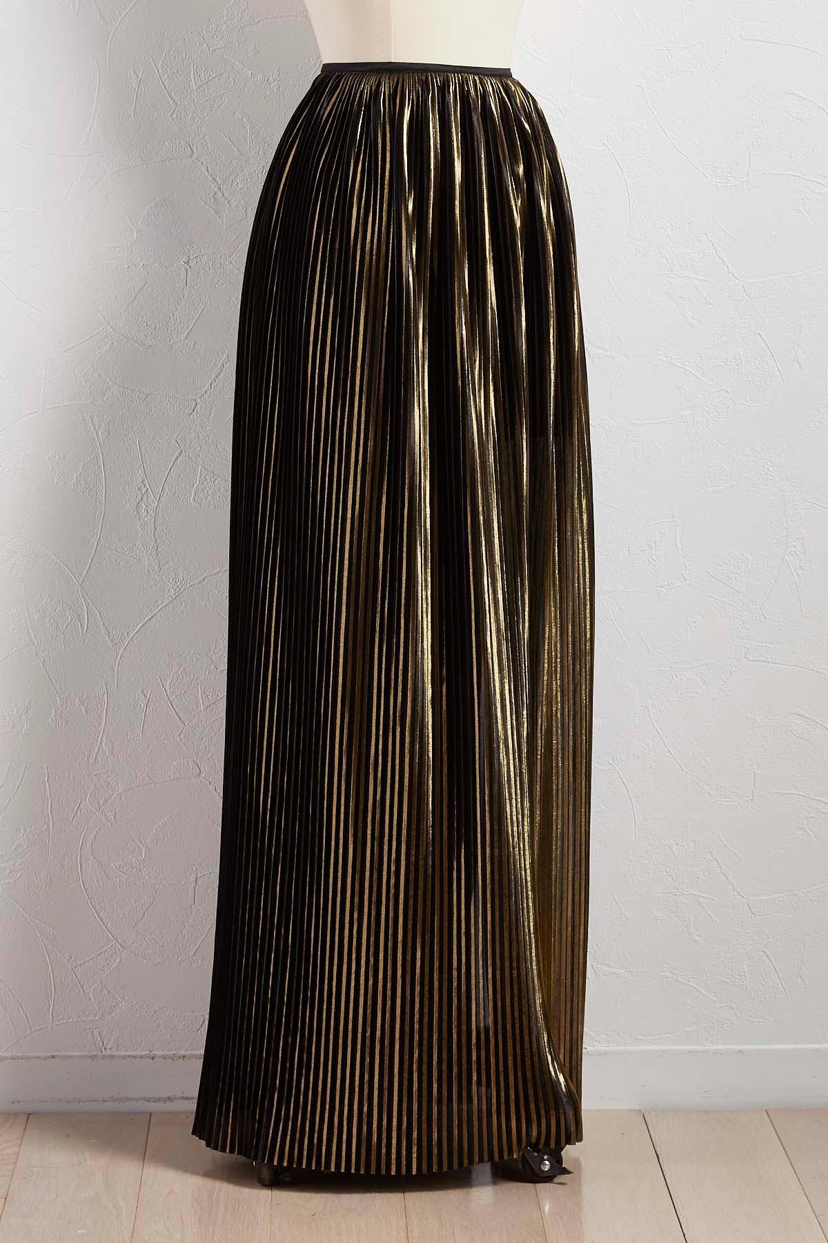 Pleated Metallic Maxi Skirt