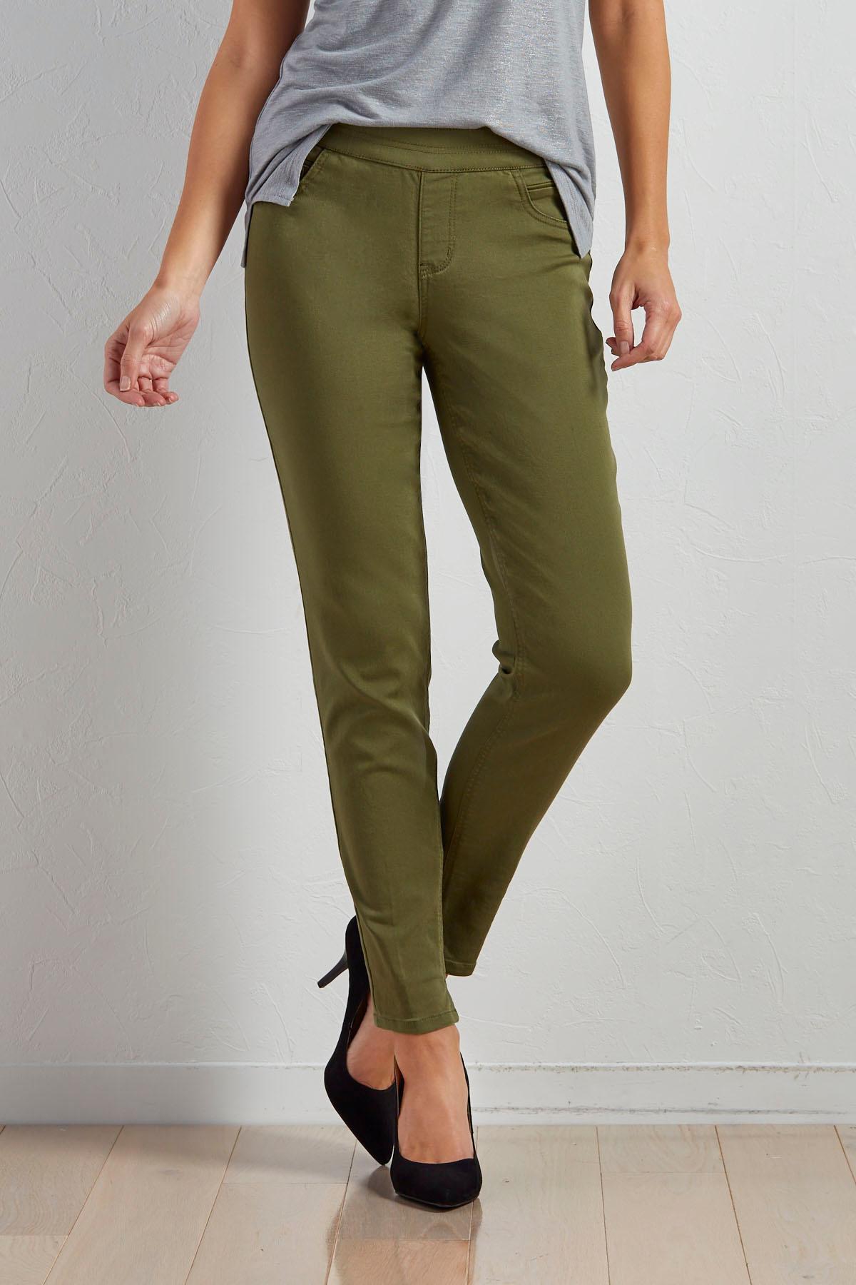 Twill Pull- On Skinny Pants