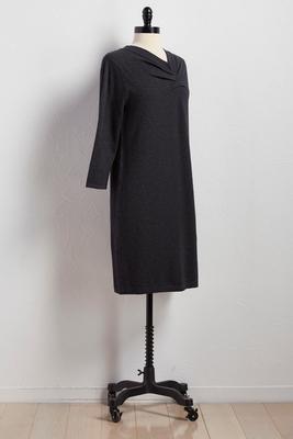 pleat neck sheath sweater dress