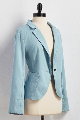 seamed chambray blazer