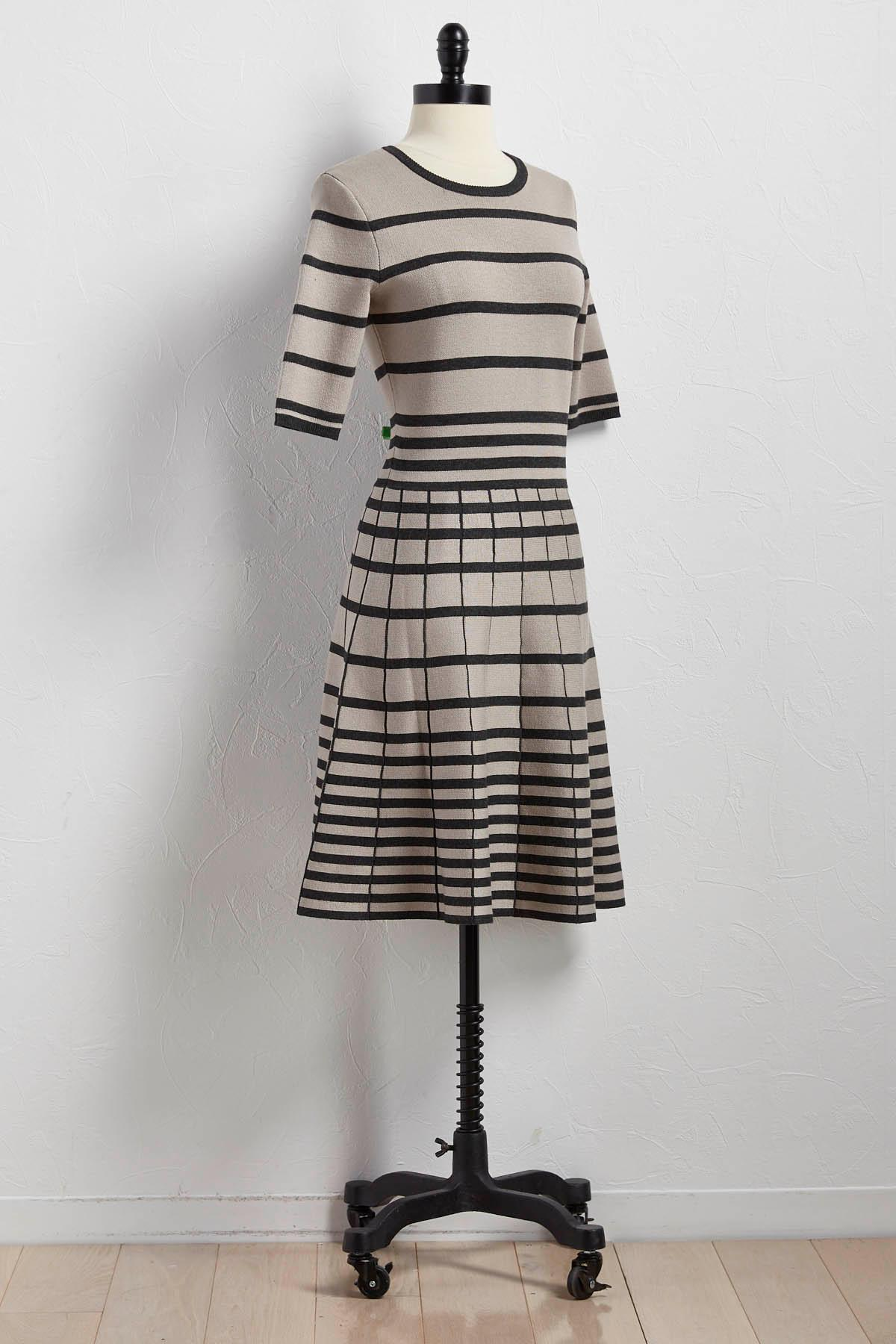 Mixed Striped Fit And Flare Sweater Dress