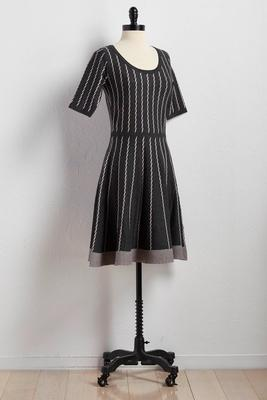rope striped fit and flare sweater dress