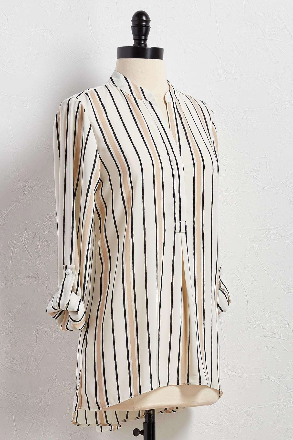 Vertical Striped High- Low Tunic