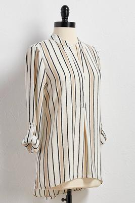 vertical striped high-low tunic