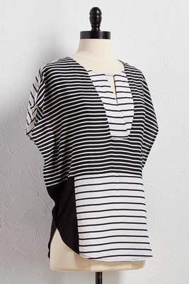 contrast striped poncho top