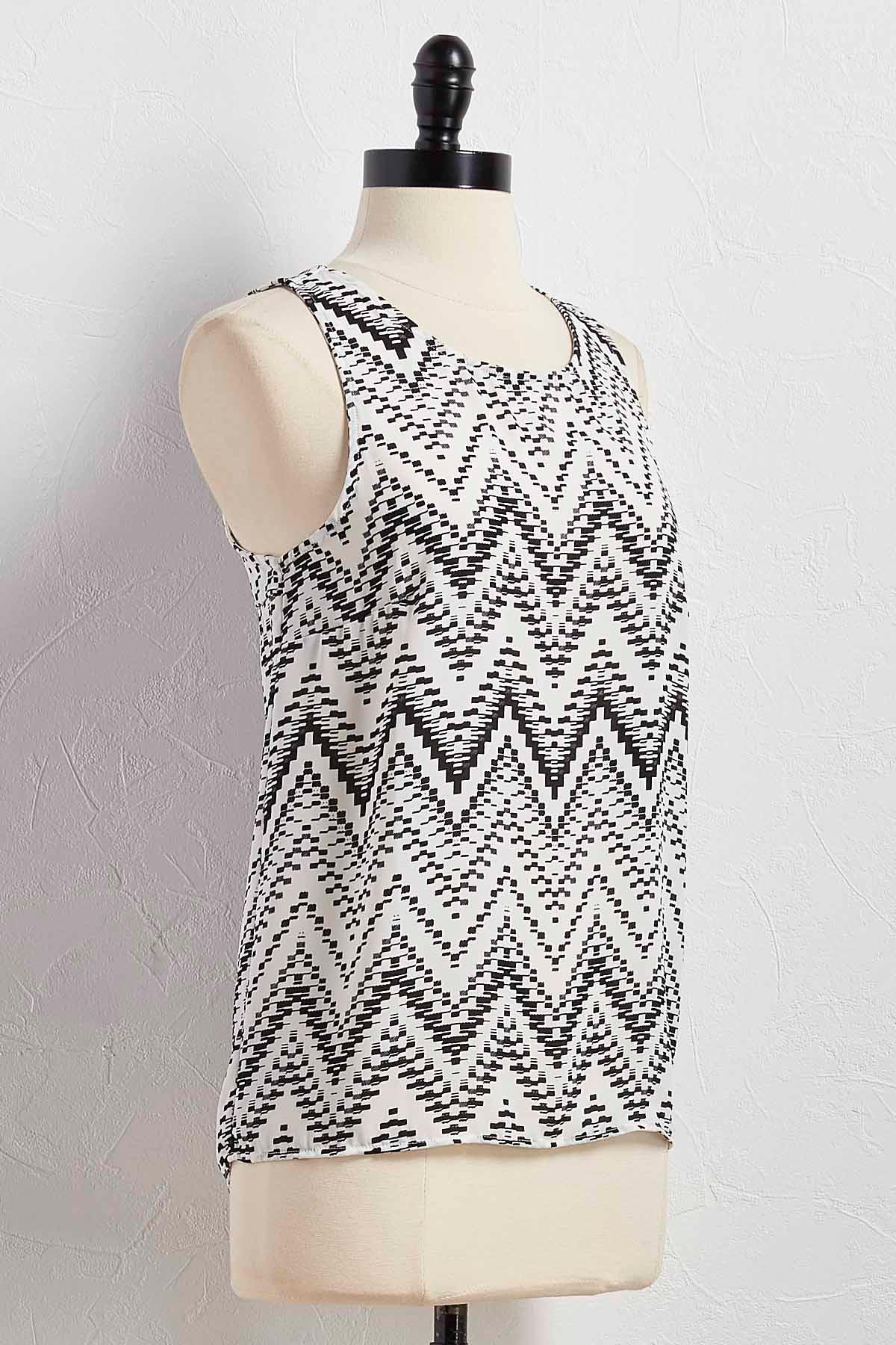 Graphic Pleated Back High- Low Tank