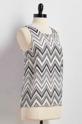 graphic pleated back high-low tank