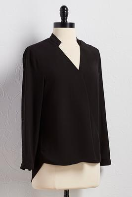 surplice neck high-low equipment top
