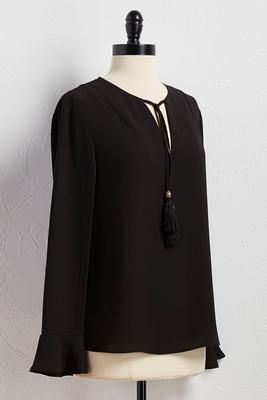 tasseled tie neck top