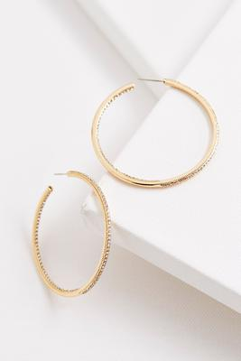 pave bordered brass hoop earrings