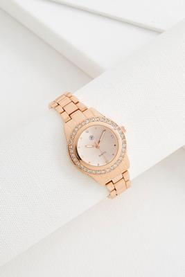 pave metallic face boyfriend watch