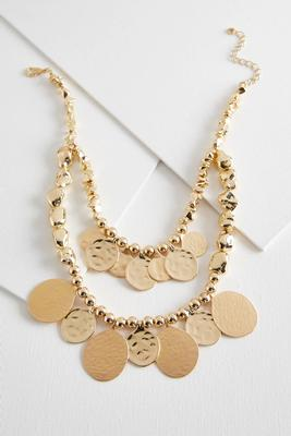 layered hammered metal necklace