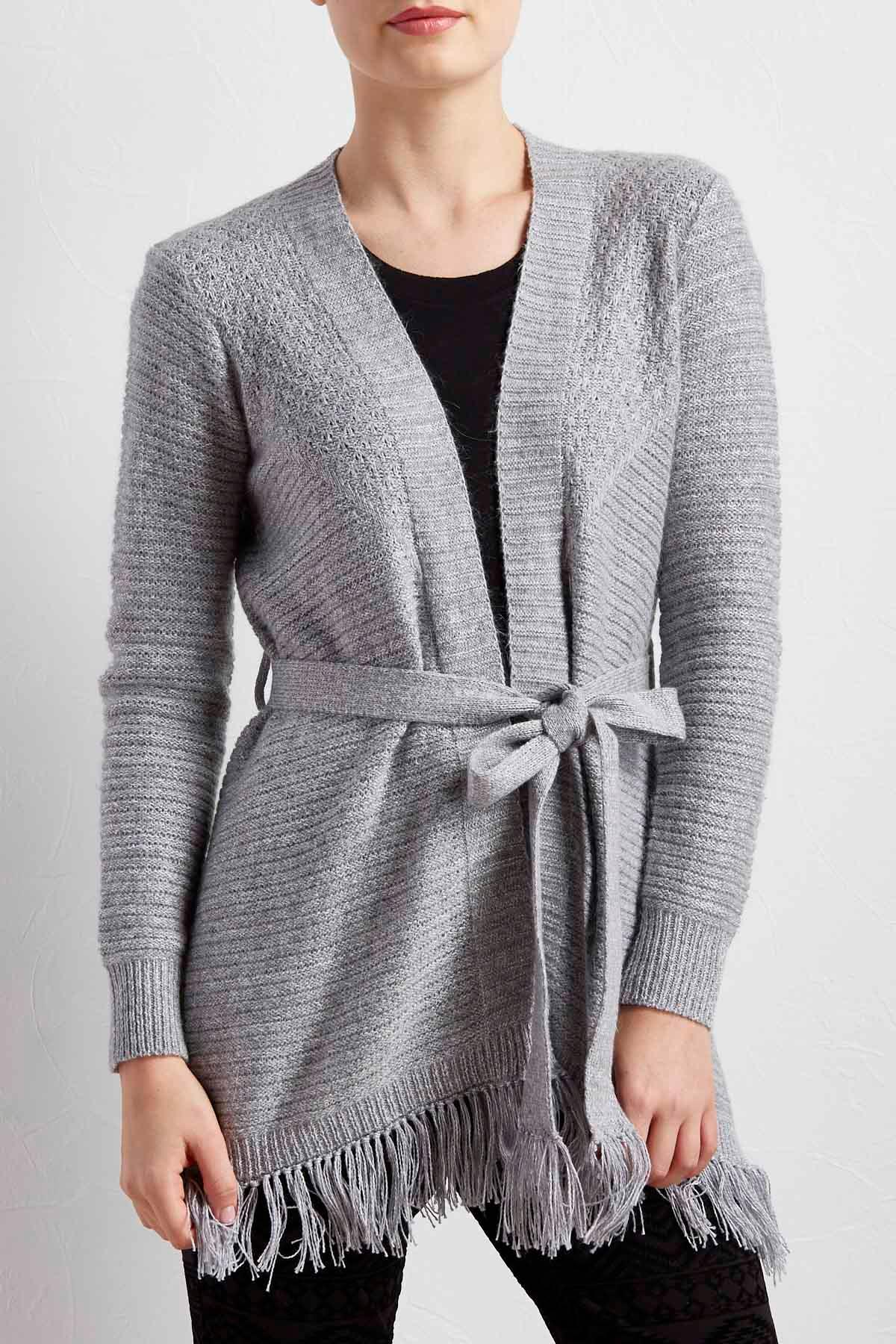 Belted Fringe Sweater