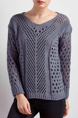 pointelle chenille sweater