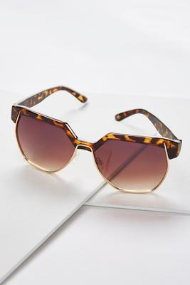 metal trim hexagon sunglasses