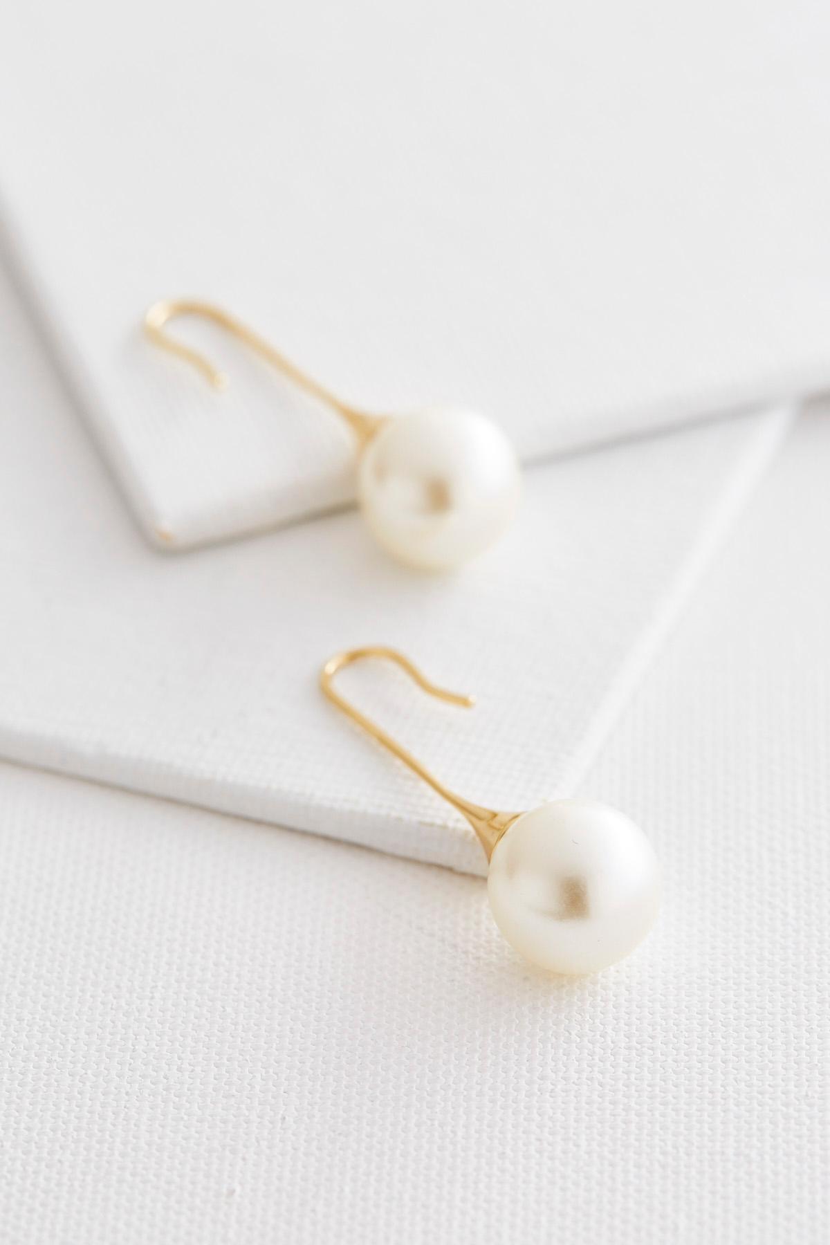 Brass Pearl Dangle Earrings