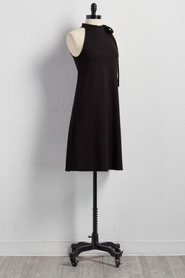 bow neck ponte knit trapeze dress