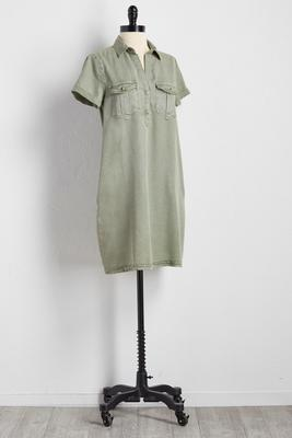 chambray utility shirt dress