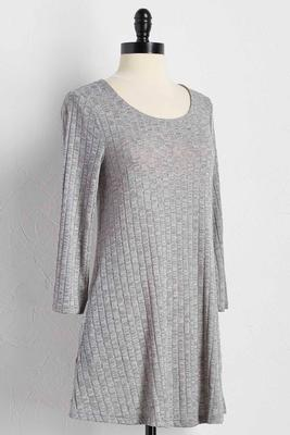heather knit ribbed tunic