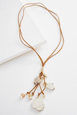 semi-precious lariat cord necklace