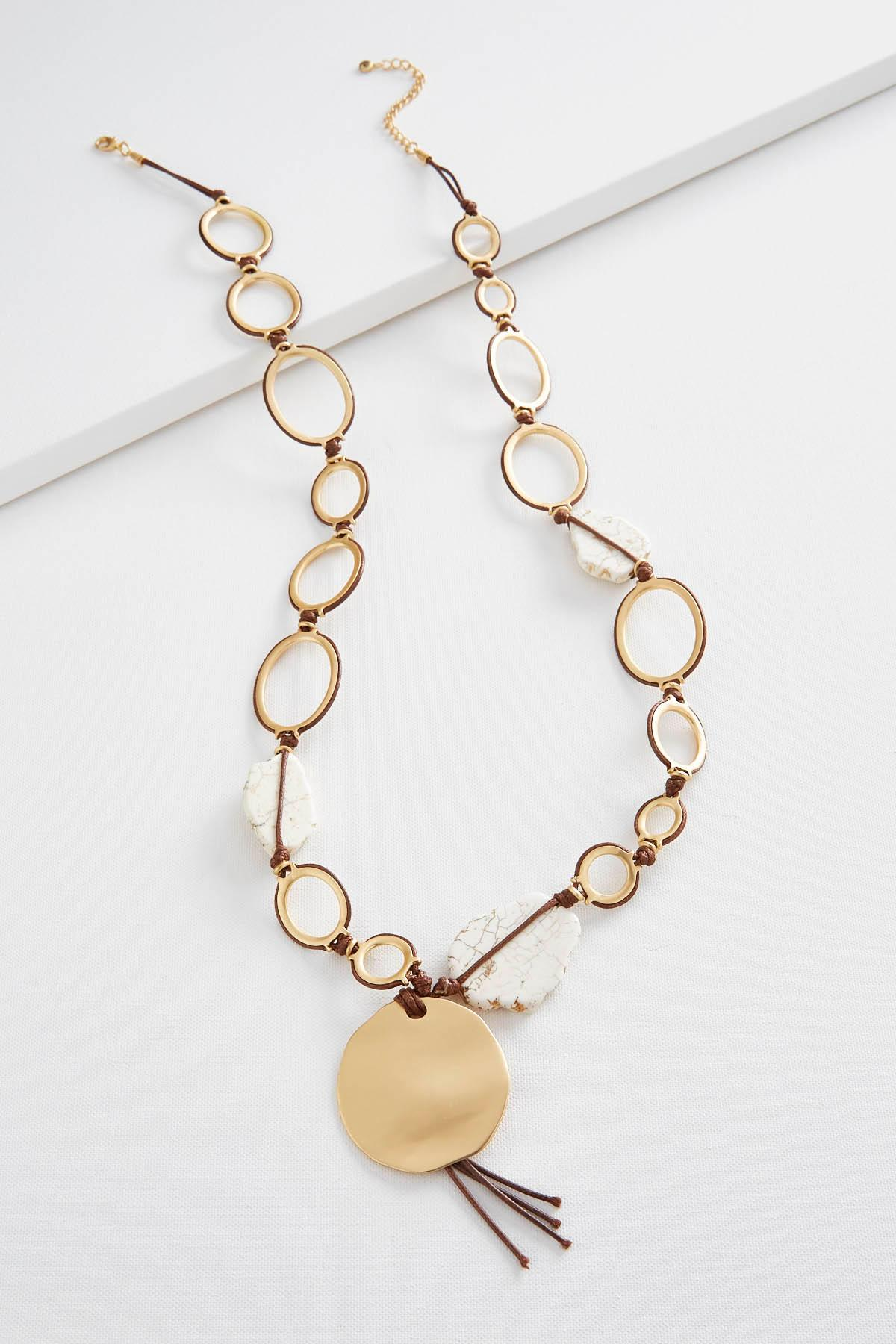 Hammered Disc Semi- Precious Necklace