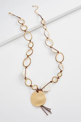 hammered disc semi-precious necklace