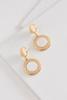 Shell Stone Disc Drop Earrings