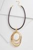 Shell Stone Hammered Pendant Cord Necklace