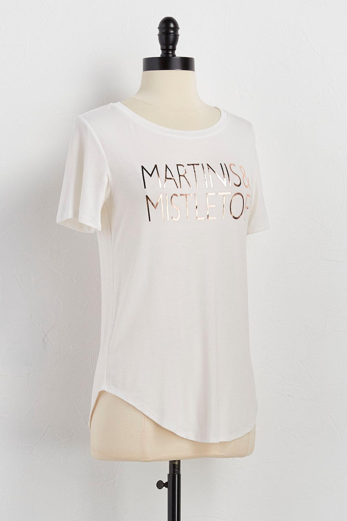 Martinis And Mistletoe Graphic Tee